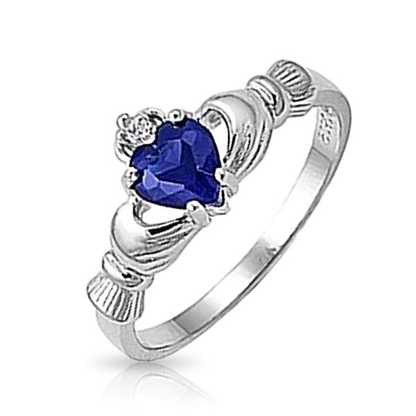 Celtic CZ Blue Imitation Sapphire Heart Claddagh Ring Sterling Silver. Opens flyout.