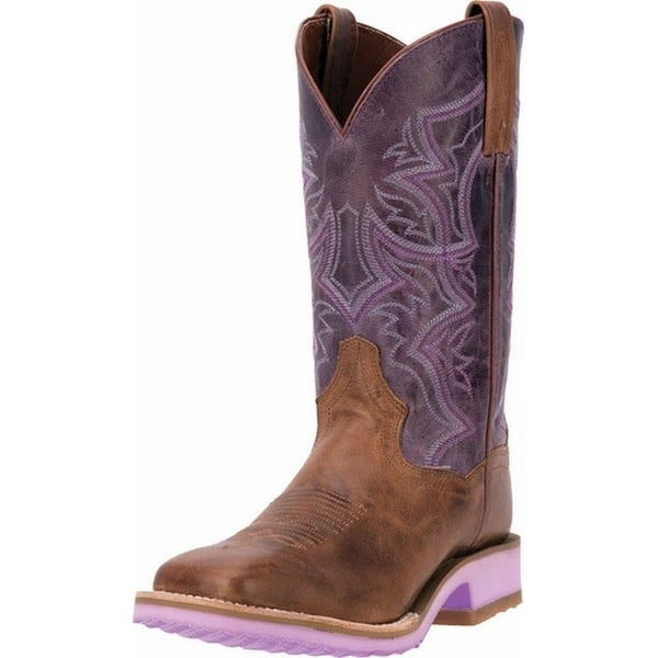 "Dan Post Western Boots Womens 11"" Serrano Diamond Tan Purple"