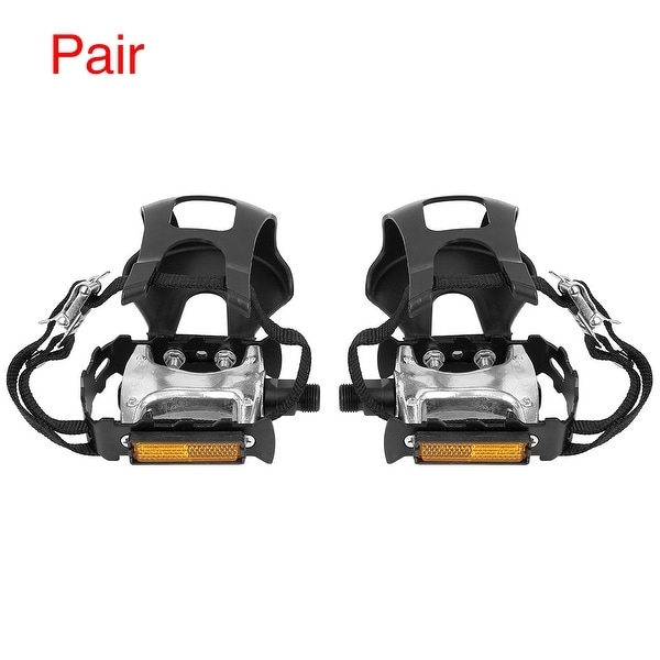 Pair Bicycle Pedals 9/16'' Spindle Platform with Toe Clips Fixed Foot Strap - Black. Opens flyout.