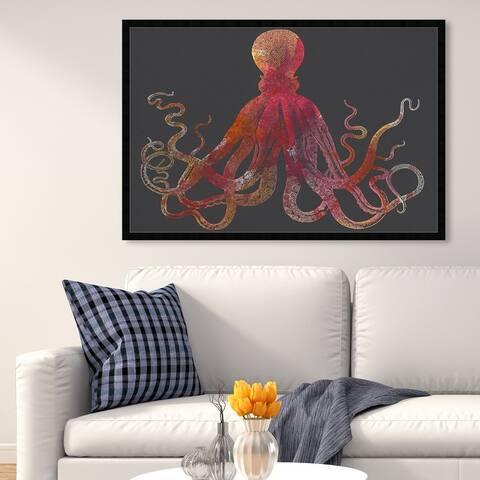 Oliver Gal 'Tangle Sunburst' Animals Wall Art Framed Print Sea Animals - Red, Black