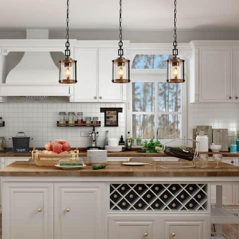 "Modern Farmhouse 1-light Faux Wood Island Glass Pendant Lights - W 6""x H 14.5"""