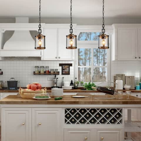 "Modern Farmhouse Pendants Lighting for Kitchen Island Faux Wood Hanging Ceiling Lamp - W 6""x H 14.5"""