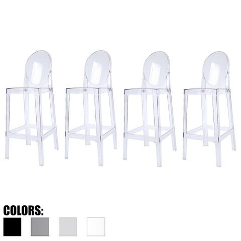 """2xhome Set of 4 Clear 30"""" Seat Bar Stool Counter Height with Backs Plastic Chairs For Home Restaurant Office"""