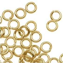 14K Gold Plated JUMPLOCK Jump Rings 4mm Diameter 20 Gauge Thick (100)