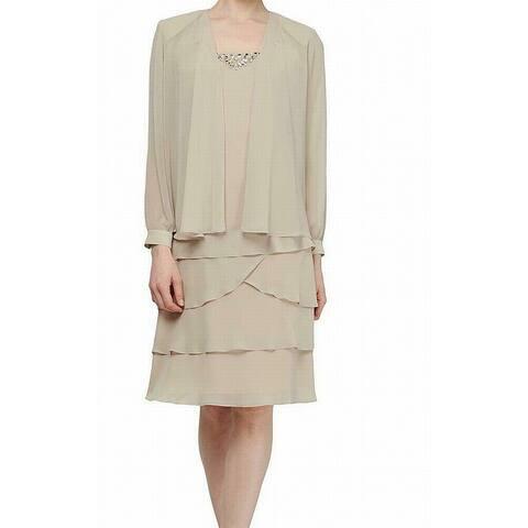 SLNY Women's Jacket Dress Classic Beige Size 12 Shift Ruffle Tiered