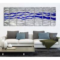 Statements2000 Modern 3D Metal Wall Art Panels Blue Silver Decor by Jon Allen - Caliente Blue