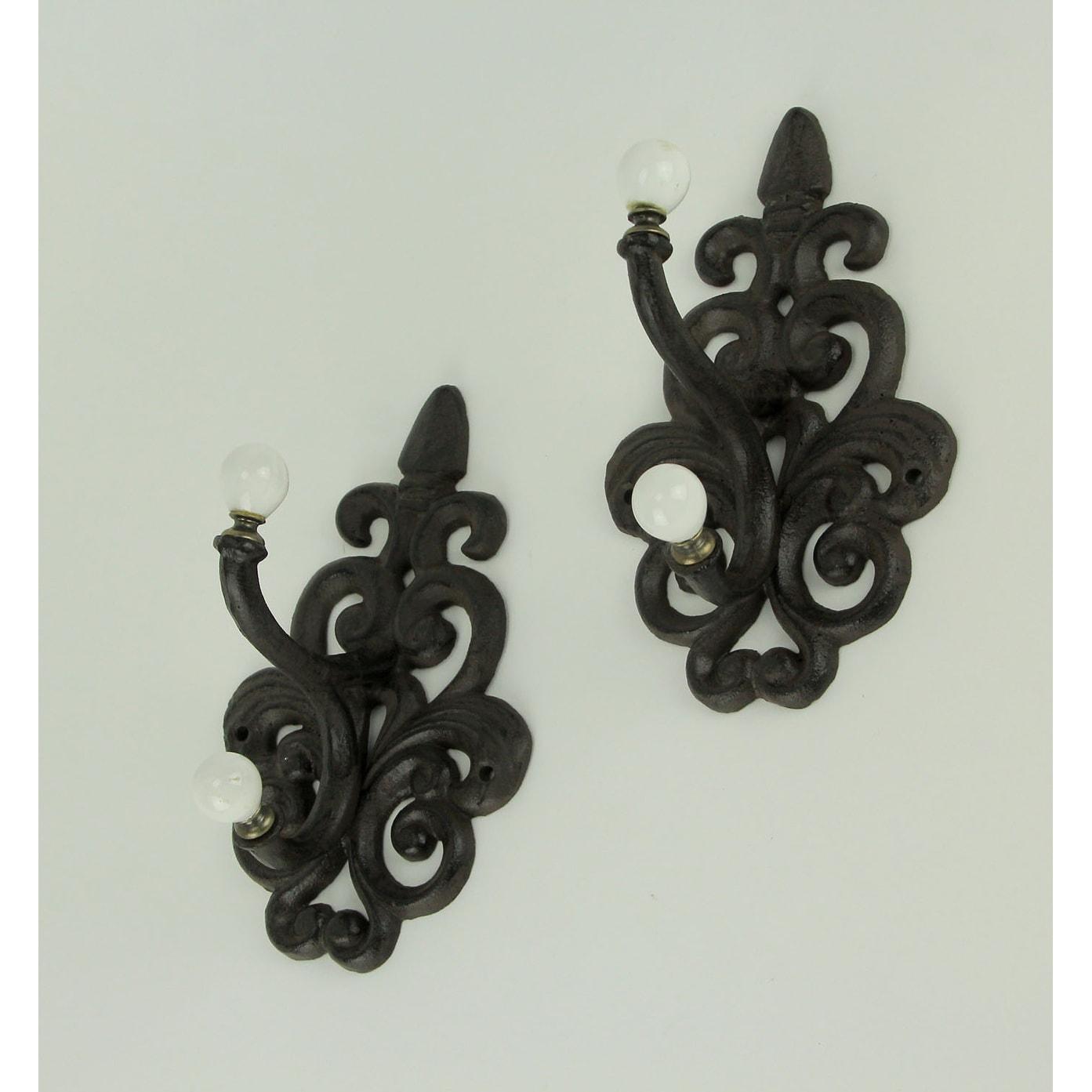 "12/"" Cast Iron FLEUR de LIS Towel Coat Robe Hook Wall Holder Metal Hanger Brown"