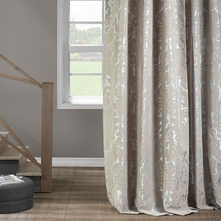 Link to Exclusive Fabrics Gwendolyn Silver Flocked Faux Silk Curtain Similar Items in Window Treatments