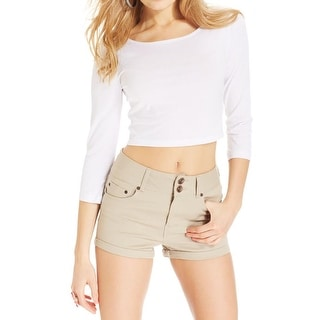 Dollhouse Womens Juniors Casual Shorts High Waisted Cuffed