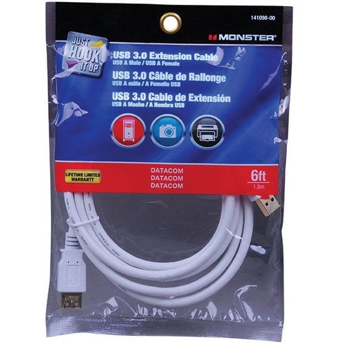 Monster 141098-00 Just Hook It Up USB 3.0 Extension Cable, White, 6'