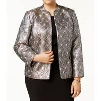 Kasper Champagne Womens Plus Printed Flyaway Jacket