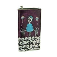 Skeleton Girl and Cats Holding Sugar Skull Balloons Wallet