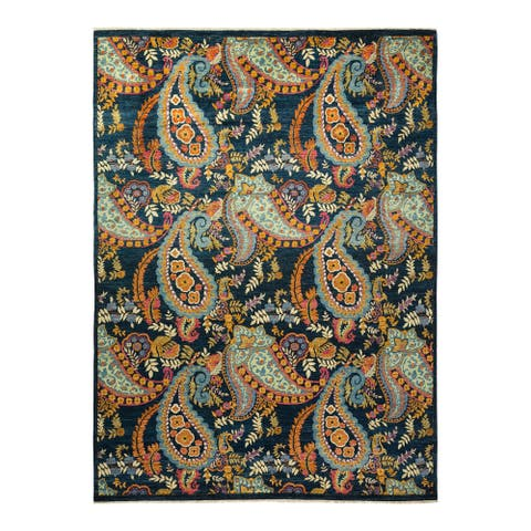 """Suzani, One-of-a-Kind Hand-Knotted Area Rug - Blue, 9' 1"""" x 12' 1"""" - 9' 1"""" x 12' 1"""""""