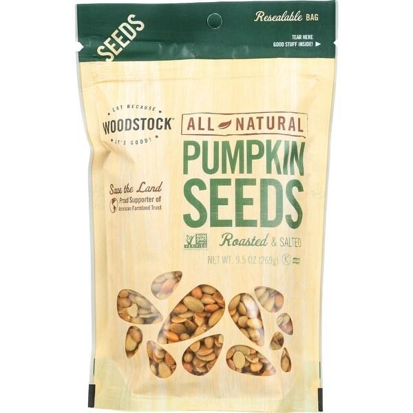 Woodstock Pumpkin Seeds - Roasted - Salted - Case of 8 - 9.5 oz.