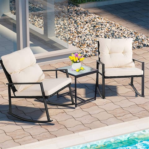 3Pieces Patio Set Outdoor Wicker Patio Furniture Sets Modern Rocking Bistro Set Rattan Chair Conversation Sets with Coffee Table