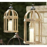 "Set of 2 Decorative Contemporary Wooden Cylinder Silhouette 21""H and 28""H Open Lanterns"