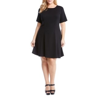 Karen Kane Womens Plus Party Dress Fit & Flare Short Sleeves