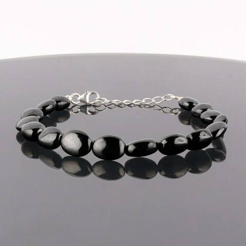 "Shungite Protection Bracelet 925 Sterling Silver Healing Chakra Women Jewelry 8"""