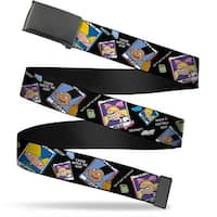 "Blank Black 1.25"" Buckle Hey Arnold Class Pix Quotes Arnold Gerald Helga Web Belt 1.25"" Wide - M"
