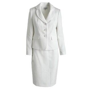 Le Suit Womens English Garden Jacquard Knee-Length Skirt Suit