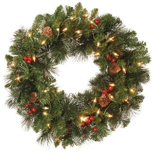 Pre-Lit Decorated Crestwood Spruce Artificial Christmas Wreath - 20-Inch, Clear Lights - green