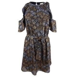 Michael Kors Women's Petite Metallic Star-Print Dress - Silver/Gold