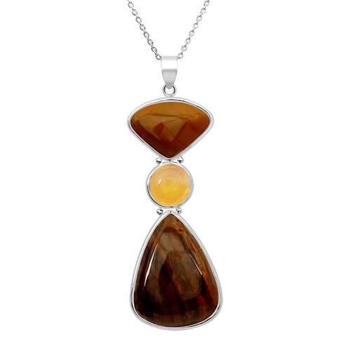 Jasper, Lemon Quartz Sterling Silver Pear Long Pendant by Essence Jewelry