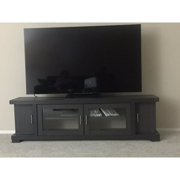 Merveilleux Shop Copper Grove Carson Contemporary 70 Inch Dark Brown Wood TV Cabinet  With 2 Glass Doors And 2 Doors   Free Shipping Today   Overstock.com    20543578