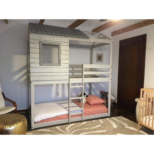 Shop Donco Kids Loft Style Light Grey Twin Over Twin Bunk Bed On