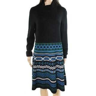 Eliza J NEW Black Womens Size Large L Turtleneck Printed Sweater Dress