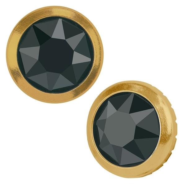 Swarovski Elements Crystal, 2078/H Framed Round Flatback Rhinestone 5.2mm, 12 Pieces, Jet Hematite / Gold