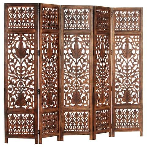 "vidaXL Hand Carved 5-Panel Room Divider Brown 78.7""x65"" Solid Mango Wood"