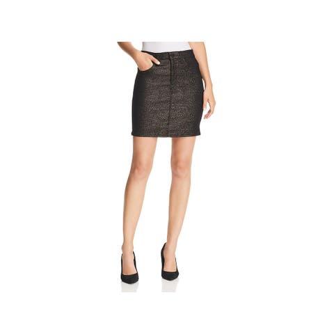 Hudson Womens Lulu Denim Skirt Metallic A-line