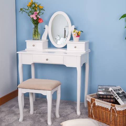 Removable Mirror Dressing Vanity Table Makeup Desk with Stool White