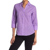 Foxcroft Purple Womens Size 22W Plus Eyelet Button Down Shirt