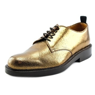 Marc Jacobs Cracked Men Round Toe Leather Gold Oxford