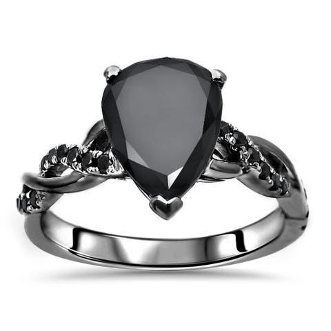 14k Black Gold Plated 1.70ct Pear Shape Moissanite & 1/5ct Diamond Engagement Ring