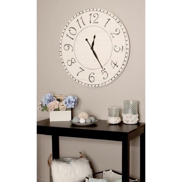 BrandtWorks Oversized Antique White Farmhouse Wall Clock 30'' x 30''