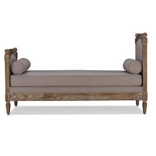 Della Oak Wood Beige Linen Fabric Upholstered Daybed Settee Bench