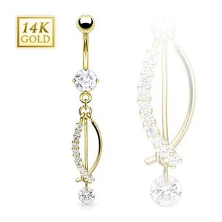"""14 Karat Solid Yellow Gold Prong-Set CZ with Gem Paved """"J"""" Fish Dangle Navel Belly Button Ring"""