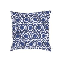 "18"" Royal Blue and Ivory Geometric Pattern Decorative Throw Pillow"