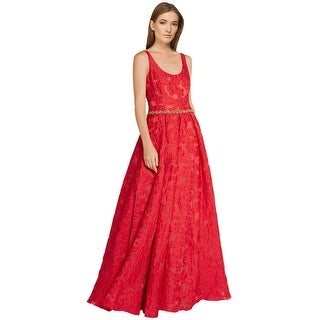 Marchesa Notte Crystal Embellished Brocade Evening Gown Dress Red - 6