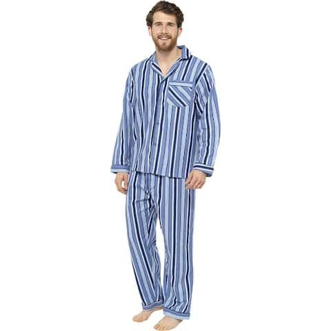 Tom Franks Mens Striped Flannel Pajama Set