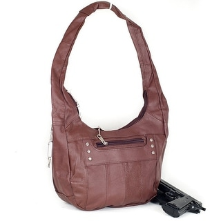 Top Grain Leather Locking Concealment Purse - CCW Concealed Carry Gun Handbag - Brown