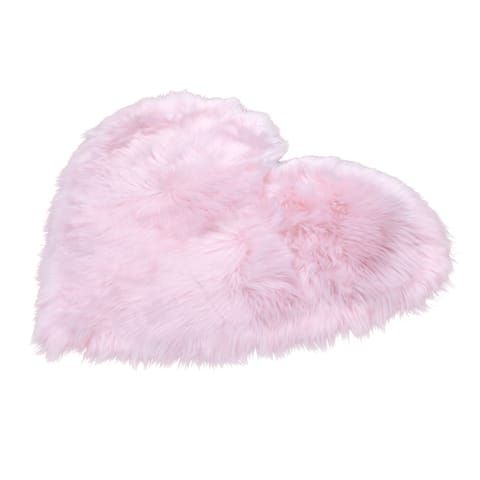 2x3 Soft and Plush Heart Faux Sheepskin Shag Rug - 72x90cm
