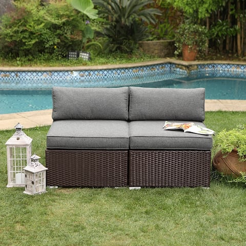 COSIEST Outdoor Furniture Add-on Armless Chairs With Cushions