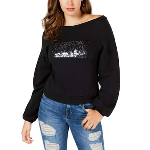 Guess Womens Small Love Sequined Long Sleeve Sweatshirt