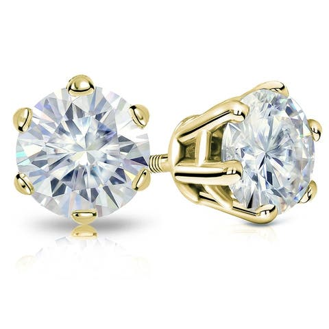 Auriya 2ctw Round Moissanite Stud Earrings 14k Gold - 6.5 mm, Screw-Backs - 6.5 mm, Screw-Backs