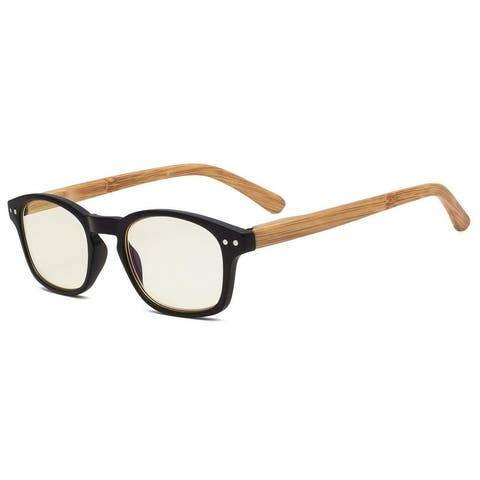 Computer Reading Glasses with Bamboo-look Temples Yellow Tinted Lens