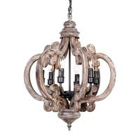 Distressed Weathered Oak 6-Light Wood Chandelier